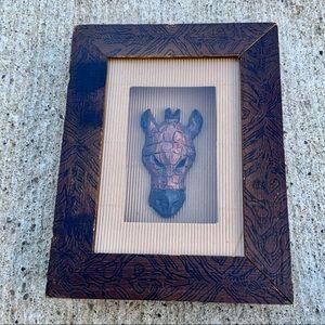 Wood carved giraffe head shadow box African art